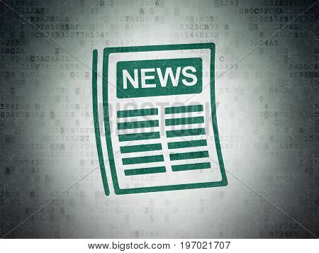News concept: Painted green Newspaper icon on Digital Data Paper background
