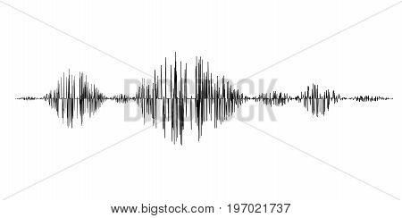 Black sound waves isolated on white background. Vector Illustration