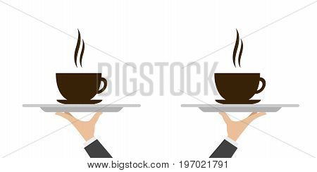 Silver waiter tray with a cup of coffee on it. Vector illustration.
