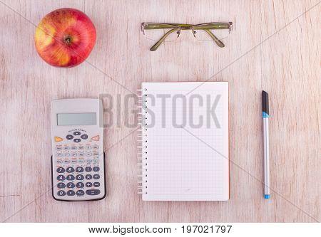 School Supplies On Desk