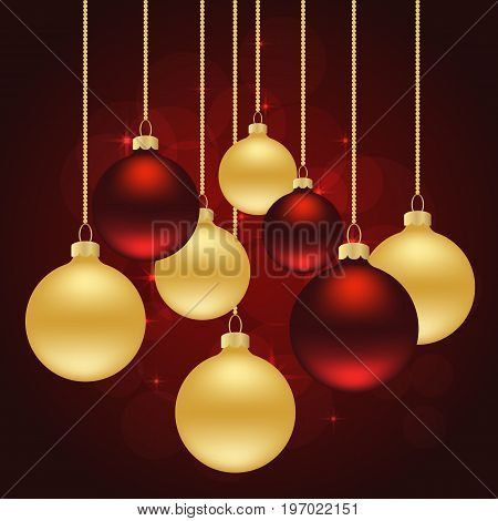 christmas red background with golden and red balls. vector illustration