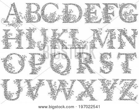 Set of fishnet (lace) font with capital letters.