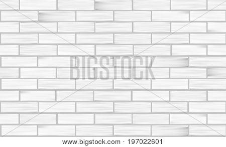 Brick wall white texture. Seamless pattern. Vector illustration