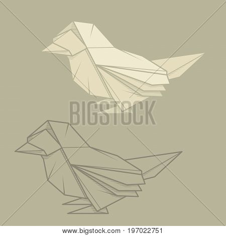 Set vector simple illustration paper origami and contour drawing of sparrow.
