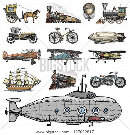 Submarine, boat and car, motorbike, Horse-drawn carriage. airship or dirigible, air balloon, airplanes corncob, locomotive. engraved hand drawn in old sketch style, vintage passengers transport