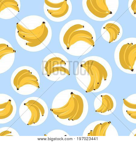 Seamless Pattern With Bananas. Vector Illustration. Yellow Banana On Blue Background. Textile Print.