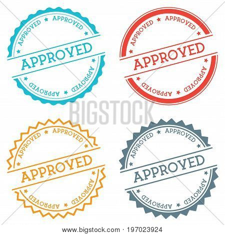 Approved Badge Isolated On White Background. Flat Style Round Label With Text. Circular Emblem Vecto