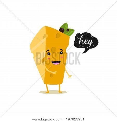 Cheese With Speech Bubble. Black Grunge Badge. Balloon Sticker. Hey. Vector Illustration.