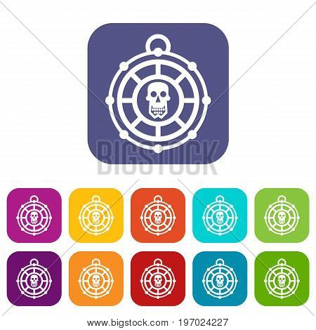 Pirate amulet icons set vector illustration in flat style in colors red, blue, green, and other