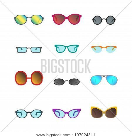 Cartoon Glasses and Sunglasses Color Icons Set Accessory for Summer Party or Carnival Flat Style Design. Vector illustration