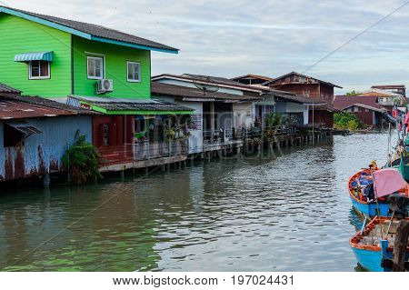 House On The Water In Khlong Yai Town In Thailand