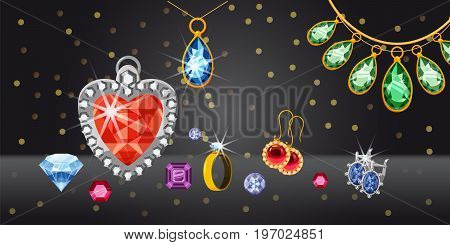 Jewelry collection horizontal concept. Cartoon illustration of jewelry collection banner horizontal vector for web