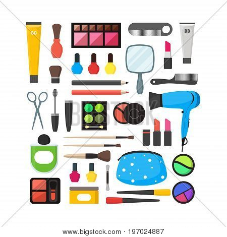 Vector Flat Make Up Tools Icon Set. Cosmetics, Mascara and Brushes on white background Illustration for Your Design