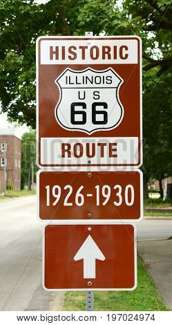 Historic Route 66 sign in Illinois showing the route that was used during the years 1926-1930 which was the first route that was created for the historic