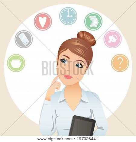 Working woman thinking, makes a choice, assistant, referent, manager, secretary, office worker, teacher, freelancer / Cute woman tries to organize her working time. Flat design, vector illustration