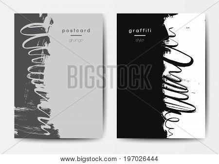 Modern grunge brush design templates, invitation, banner, art vector cards design in pastel colors