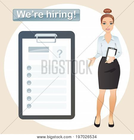 HR manager hires a Professional for the position, Staff recruitment, Resume. Flat design, vector illustration.