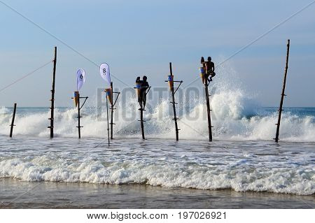 Mirissa Sri Lanka 25-02-2017: Completion of the traditional fishing competition among the Sri Lankan fishermen