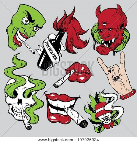 Vector fashion patch badges set with lips skull with roll-up rock hand face and devil. Patches pins stickers made in hand drawn cartoon style. Weed stickers collection.
