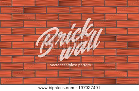 Red brick wall texture. Seamless pattern. Vector illustration