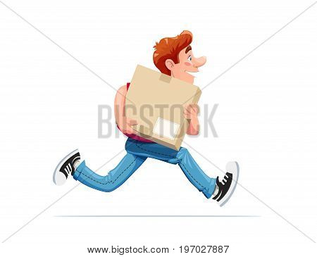Running boy carry box. Delivery service. Cartoon character. Isolated white background. Vector illustration.