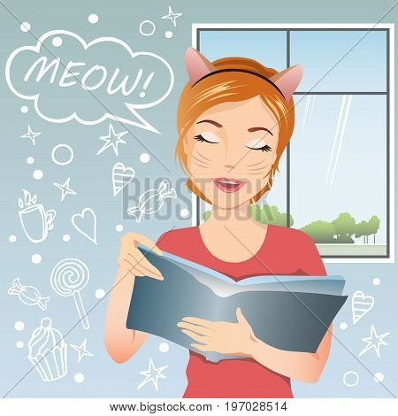 The girl does not want to prepare for the exams. She wants to love, coffee and candy. Young girl is tired of studying and she says Meow! Flat design, vector cartoon.