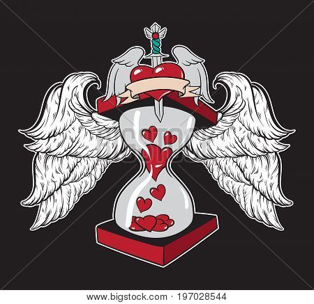 Vector hand drawn illustration of hourglass with hearts and wings. Template for card poster banner print for t-shirt .