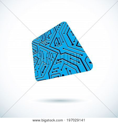 Vector microchip design cpu. Information communication technology element circuit board in square shape.