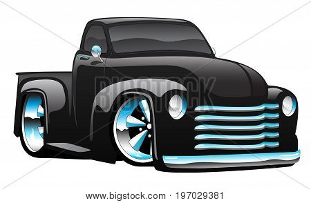 Hot rod pick-up truck illustration, big rims and tires, shiny paint, lots of chrome.