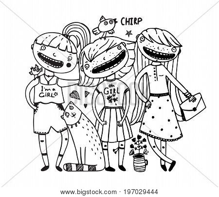 Young cute girls group hugging friendship funny black and white outline hand drawn cartoon design. Vector illustration.