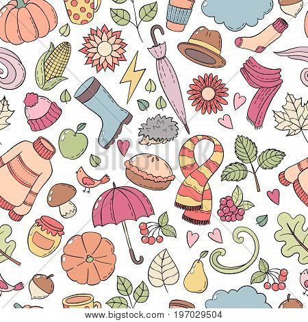 Set autumn hand drawn doodle illustrations. Seamless pattern