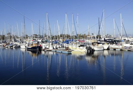 CORONADO ISLAND, CALIFORNIA, JUNE 10. Coronado Yacht Club Marina on June 10, 2017, on Coronado Island, California. A Coronado Yacht Club Marina Scene on Coronado Island in San Diego in California.