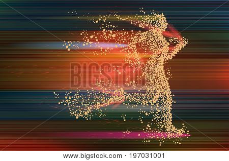 Running woman particle divergent silhouette on dinamic abstract background. Vector illustration