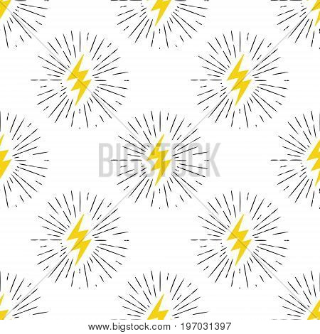 Vector Seamless Pattern With Yellow Lightning Bolt Signs With Sunburst Effect.