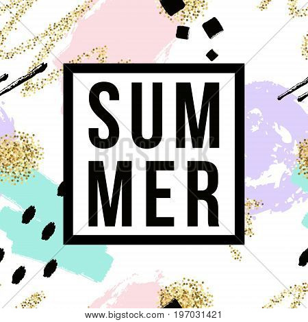 Vector Hand Drawn Seamless Pattern With Geometric And Brush Painted Elements, Summer Lettering. Text