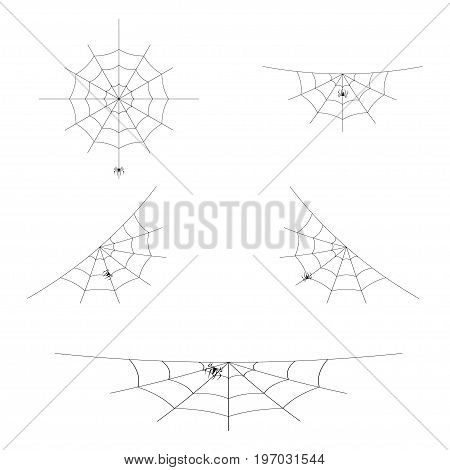 Set of spider webs or cobwebs for Halloween design. Element of decoration. Isolated on white background. Vector illustration.