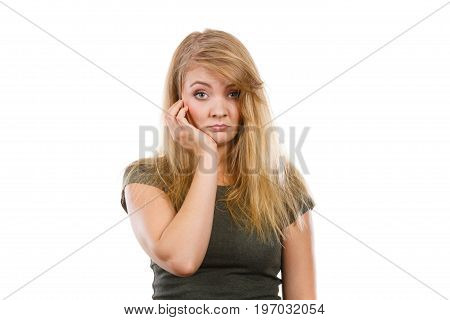 Sad Cute Young Blonde Attractive Woman