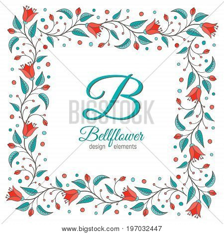 Bellflower design element. Floral wreath frame. Monogram letter B inside. Perfect for wedding invitation design. Harebell bluebell vector illustration.