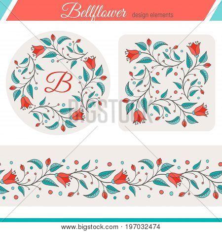 Bellflower floral design element. Set of three elements - frame flower background seamless floral border. Perfect for wedding invitations design. Harebell bluebell vector illustration.