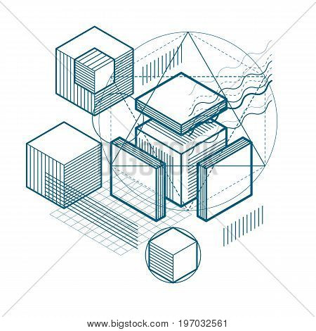 Isometric abstraction with lines and different elements vector abstract background. Composition of cubes hexagons squares rectangles and different abstract elements.