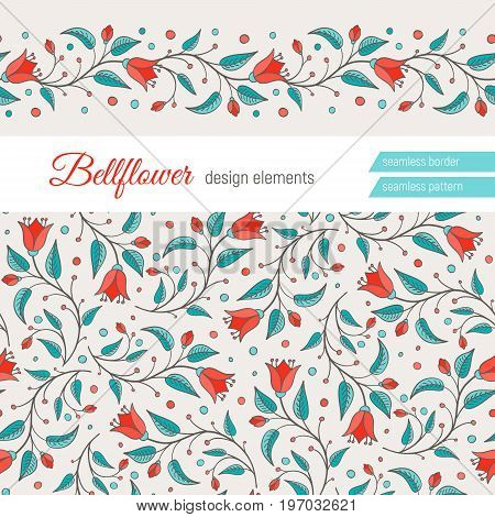 Bellflower floral design element. Set of two elements - flower background and seamless floral border. Perfect for wedding invitations design. Harebell bluebell vector illustration.