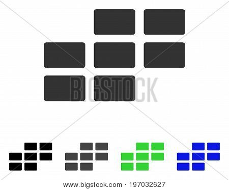 Calendar Grid flat vector pictograph. Colored calendar grid gray, black, blue, green icon variants. Flat icon style for graphic design.