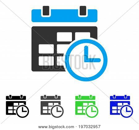 Date And Time flat vector illustration. Colored date and time gray, black, blue, green icon versions. Flat icon style for application design.