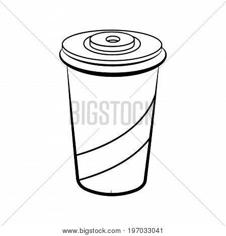 Sketch soda glass plastic isolated on white background. Vector illustration, EPS 10