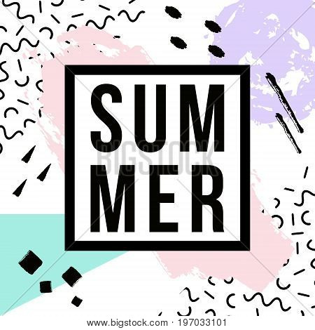 Vector Abstract Hand Drawn Pattern With Geometric And Brush Painted Elements, Summer Lettering. Text