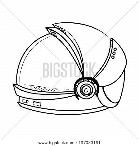 Astronaut Sketch Spacesuit. Hand Drawn Vector illustration, EPS 10