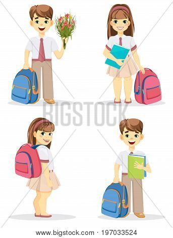 Schoolboy and schoolgirl with backpack. Coming back to school. Cute smiling boy and girl. Cartoon characters. Set of four vector illustrations.