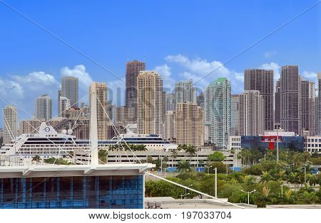 MIAMI, USA - APRIL 14 2017: View of downtown Miami from the ship docked at cruise terminal