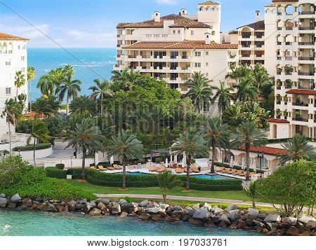 View of residential buildings in Fisher Island, Miami Beach.
