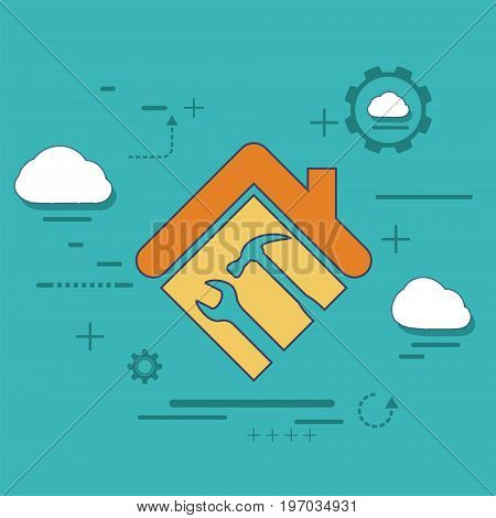 Icon house with a wrench and hammer. Logo construction and repair. Stock vector flat graphic illustration.